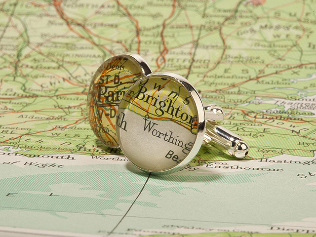 Map inserted bespoke cufflinks.
