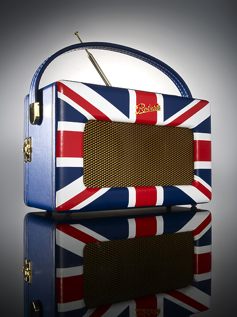 Roberts branded radio with Union Flag design.