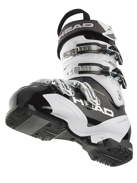 Modern ski boot cut out from below.