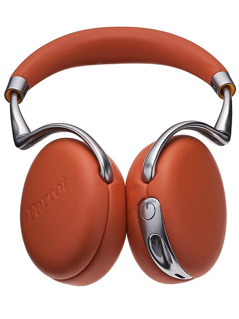 Orange leather headphones