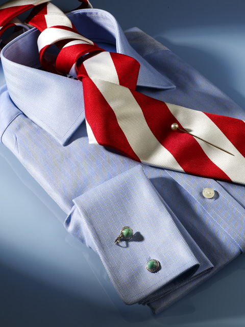 Blue herringbone fabric cotton shirt.