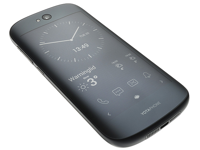 Yotaphone, Russian smartphone with screen on back of case.
