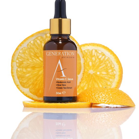 cosmetic bottle and oranges ingredient