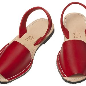 Red leather summer sandals, fashion product photography