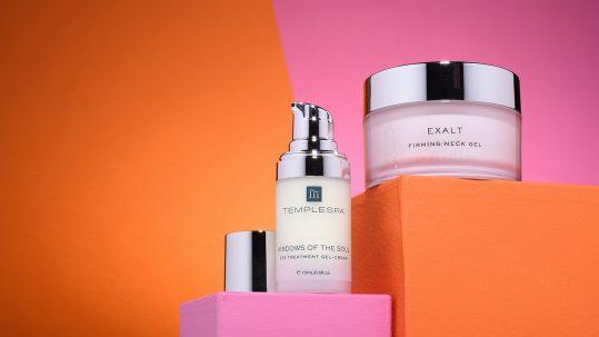 Low angle image of cosmetics